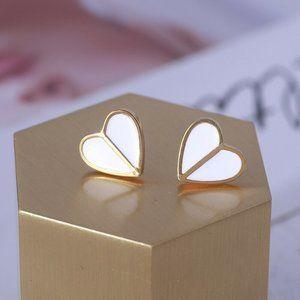 NEW Kate Spade White Heritage Spade Heart Earrings